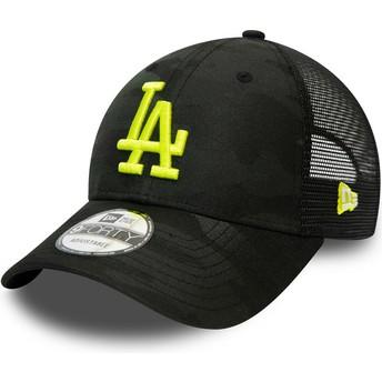 Gorra curva camuflaje negro con logo amarillo ajustable 9FORTY Home Field de Los Angeles Dodgers MLB de New Era