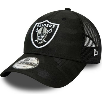 Gorra curva camuflaje negro ajustable 9FORTY Home Field de Las Vegas Raiders NFL de New Era