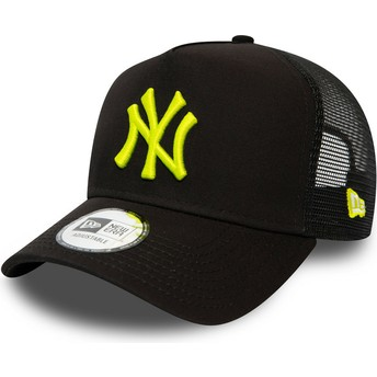 Gorra trucker negra con logo amarillo League Essential A Frame de New York Yankees MLB de New Era