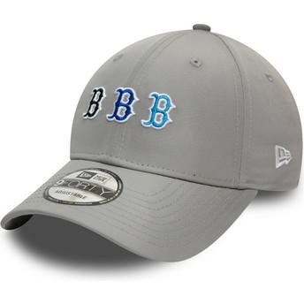 Gorra curva gris ajustable 9FORTY Stack Logo de Boston Red Sox MLB de New Era