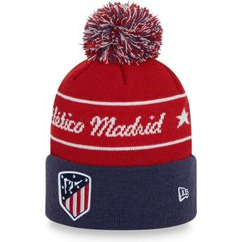Gorro rojo y azul con pompón Bobble Knit de Atlético de Madrid LFP de New Era