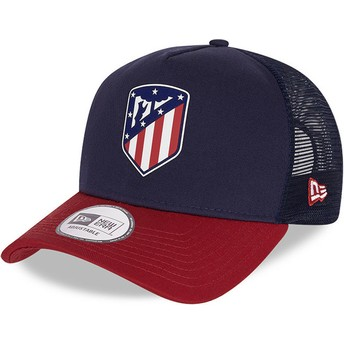 Gorra trucker azul y roja Rubber Logo A Frame de Atlético de Madrid LFP de New Era