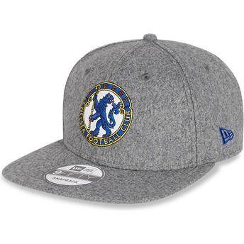 Gorra plana gris snapback 9FIFTY Low Profile Heritage de Chelsea Football Club de New Era