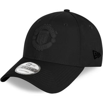 Gorra curva negra ajustable con logo negro 9FORTY Rubber Patch de Manchester United Football Club de New Era