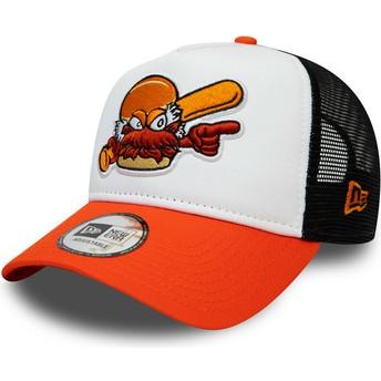 New Era A Frame Charlotte Knights MiLB White, Black and Orange Trucker Hat