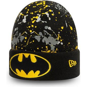 Gorro negro para niño Cuff Knit Paint Splat Batman DC Comics de New Era