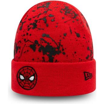 Gorro rojo para niño Cuff Knit Paint Splat Spider-Man Marvel Comics de New Era