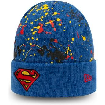 New Era Youth Superman Cuff Knit Paint Splat DC Comics Blue Beanie