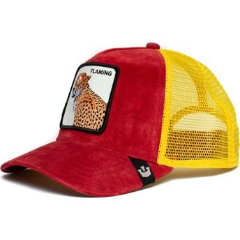 Gorra trucker roja y amarilla leopardo Flaming Hot Cheetah The Farm de Goorin Bros.