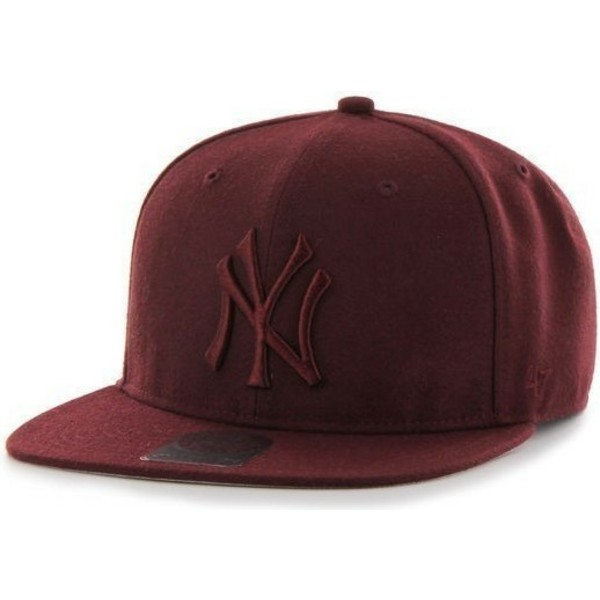 47-brand-flat-brim-large-logo-new-york-yankees-mlb-no-shot-maroon-snapback-cap