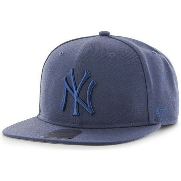 47-brand-flat-brim-large-logo-new-york-yankees-mlb-no-shot-blue-snapback-cap