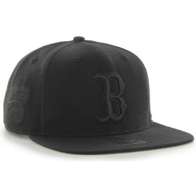 f5f2e75ff 47 Brand Flat Brim Black Logo Boston Red Sox MLB Sure Shot Black Snapback  Cap