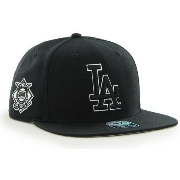47-brand-flat-brim-los-angeles-dodgers-mlb-sure-shot-black-snapback-cap