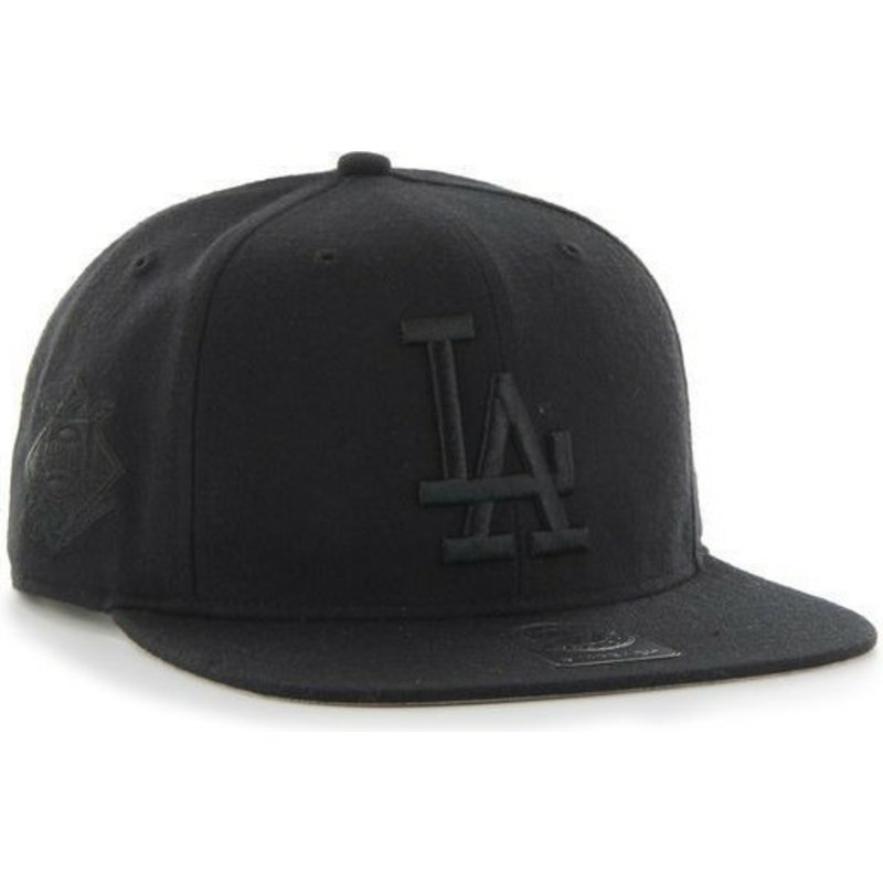 47-brand-flat-brim-black-logo-los-angeles-dodgers-mlb-sure-shot-black-snapback-cap