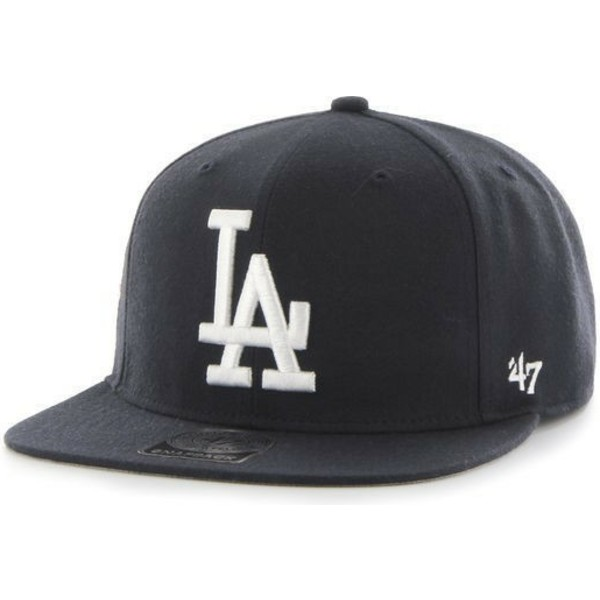 47-brand-flat-brim-white-logo-los-angeles-dodgers-mlb-sure-shot-black-snapback-cap