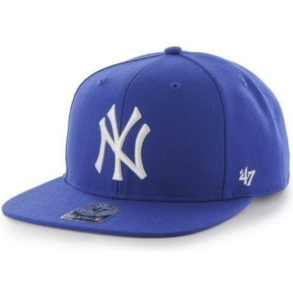 47-brand-flat-brim-new-york-yankees-mlb-sure-shot-blue-snapback-cap