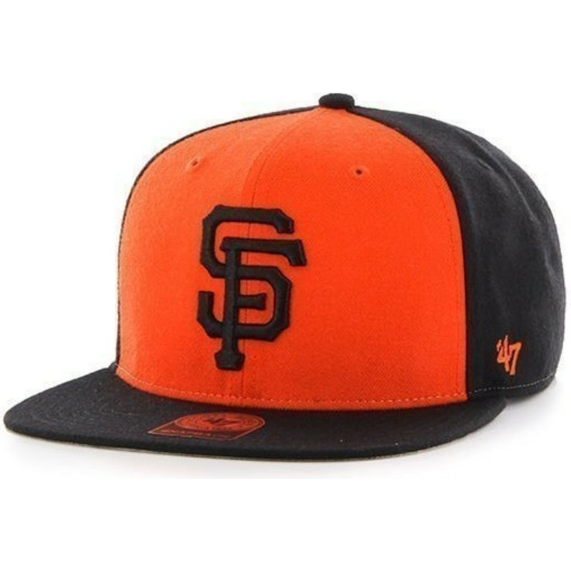 47-brand-flat-brim-san-francisco-giants-mlb-sure-shot-black-and-orange-snapback-cap