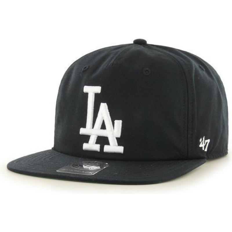 f44abd1e6d4 47 Brand Flat Brim Los Angeles Dodgers MLB Black Snapback Cap  Shop ...