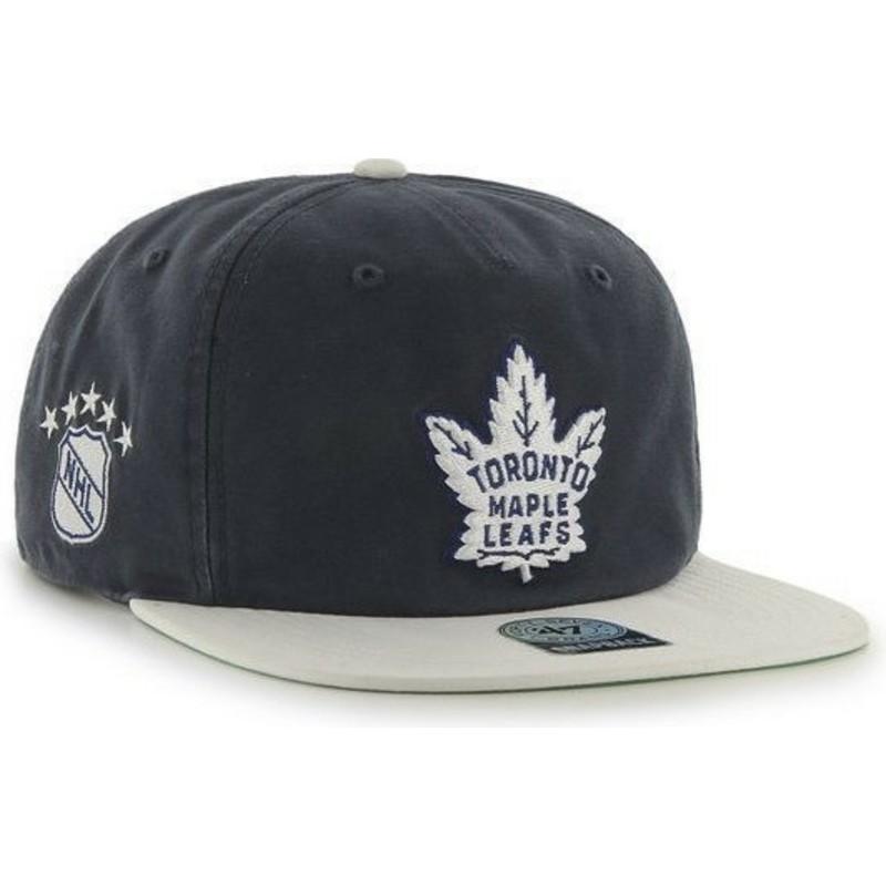 47 Brand Flat Brim Toronto Maple Leafs NHL Black Snapback Cap  Shop ... a8305b6855d6