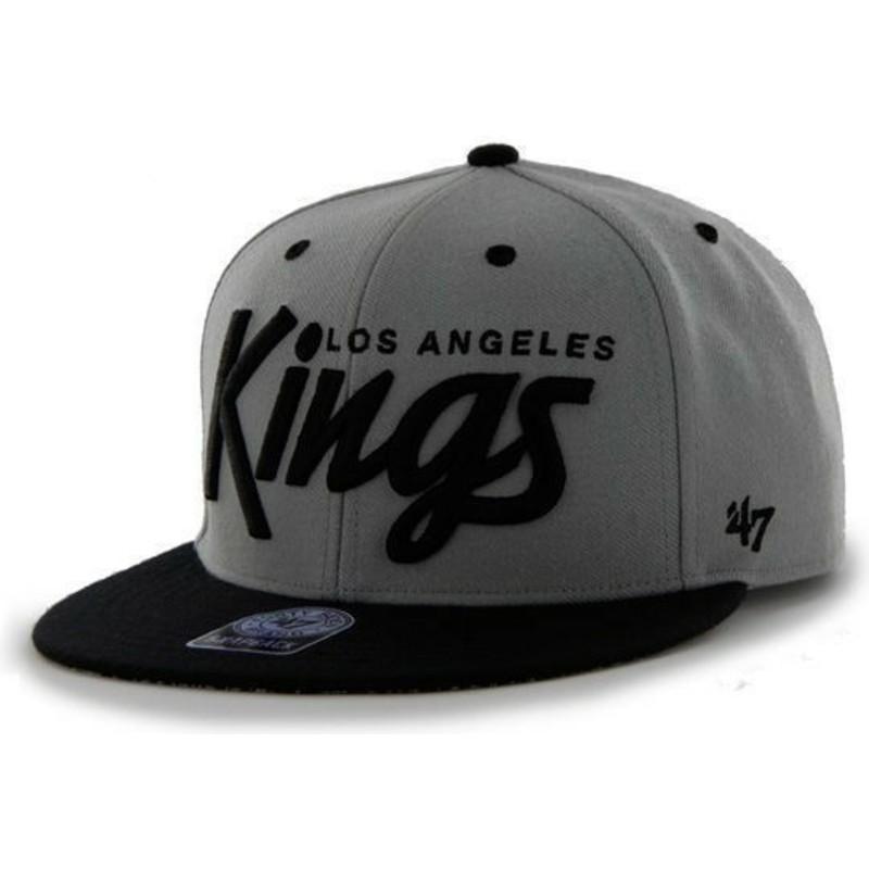 80d52a73e3824 47 Brand Flat Brim Script Logo Los Angeles Kings NHL Dark Grey ...