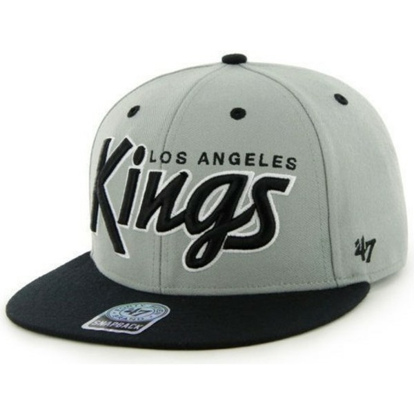 47-brand-flat-brim-script-logo-los-angeles-kings-nhl-grey-snapback-cap