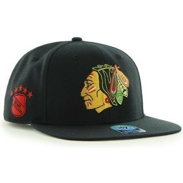 47-brand-flat-brim-chicago-blackhawks-nhl-sure-shot-black-snapback-cap