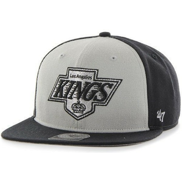 47-brand-flat-brim-los-angeles-kings-nhl-sure-shot-grey-and-black-snapback-cap