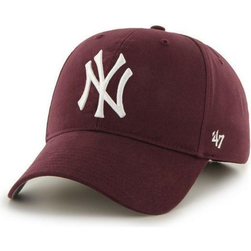 90fc092f455 47 Brand Curved Brim New York Yankees MLB Maroon Cap  Shop Online at ...