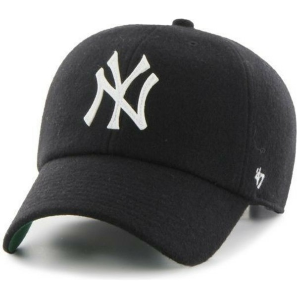 47-brand-curved-brim-leather-strap-new-york-yankees-mlb-clean-up-black-cap