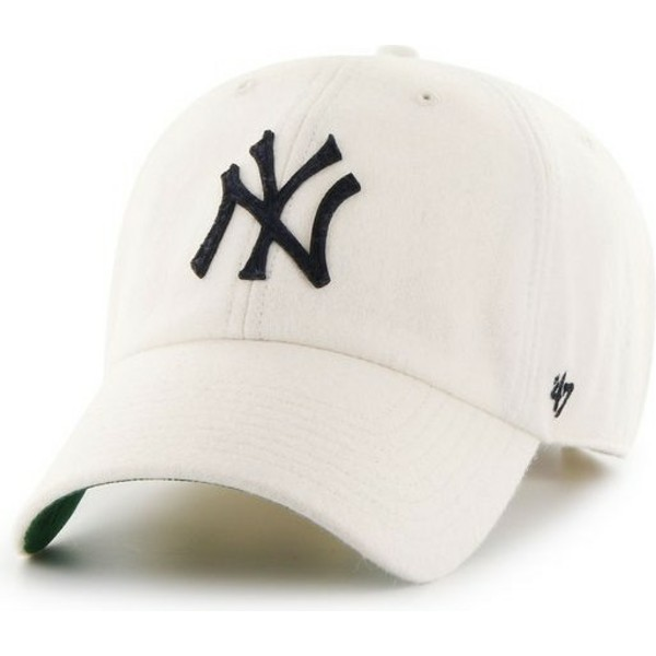 47-brand-curved-brim-cream-black-logonew-york-yankees-mlb-clean-up-white-cap