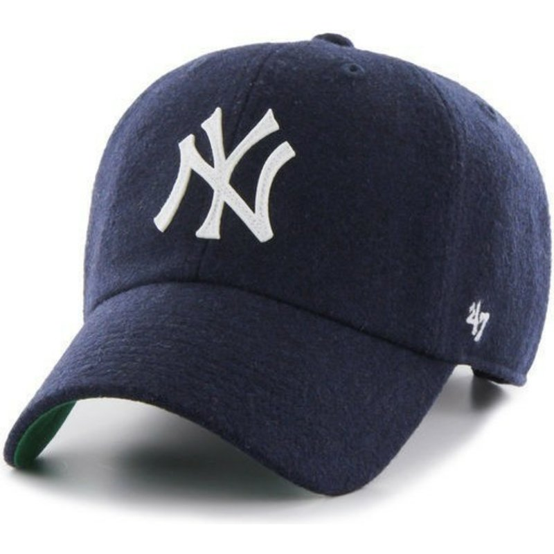 47-brand-curved-brim-leather-strapnew-york-yankees-mlb-clean-up-navy-blue-cap