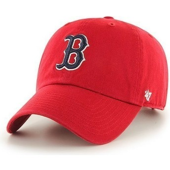 47 Brand Curved Brim Boston Red Sox MLB Clean Up Red Cap
