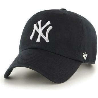 Gorra curva negra de New York Yankees MLB Clean Up de 47 Brand