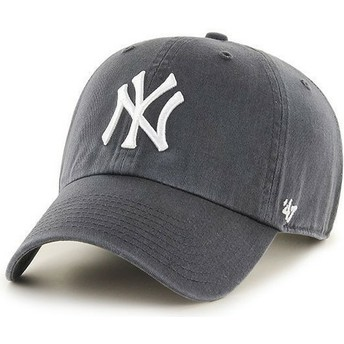 47 Brand Curved Brim New York Yankees MLB Clean Up Grey Cap