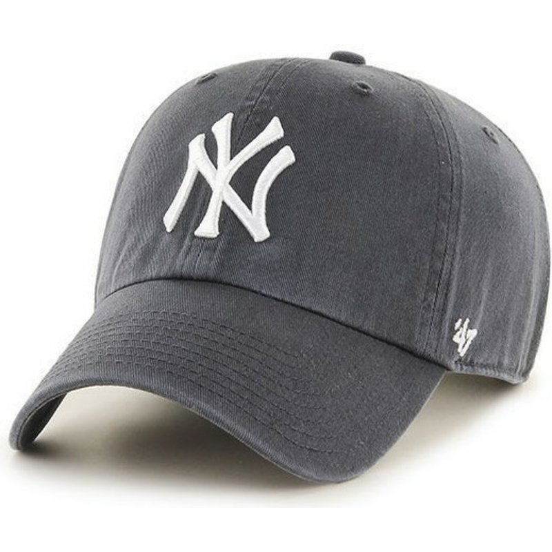 47-brand-curved-brim-new-york-yankees-mlb-clean-up-grey-cap
