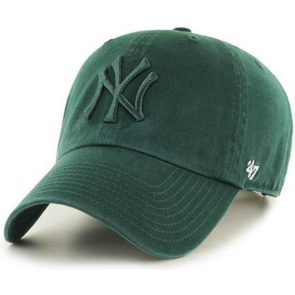 47-brand-curved-brim-gren-logo-new-york-yankees-mlb-clean-up-green-cap