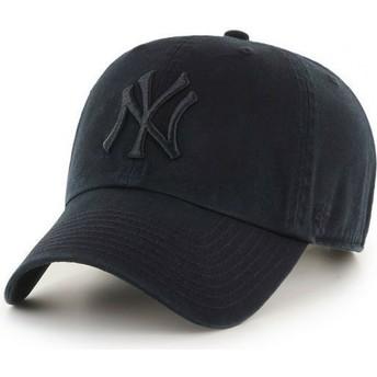 Gorra curva negra oscuro con logo negro de New York Yankees MLB Clean Up de 47 Brand