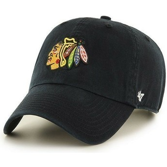 47 Brand Curved Brim Chicago Blackhawks NHL Clean Up Black Cap