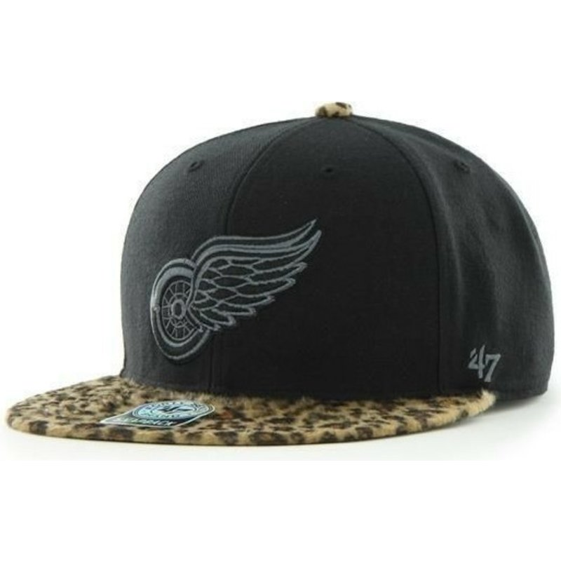 47-brand-flat-brim-detroit-red-wings-nhl-black-and-leopard-snapback-cap