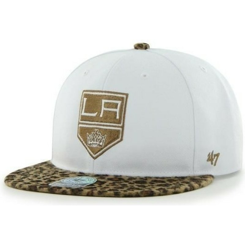 47-brand-flat-brim-los-angeles-kings-nhl-white-and-leopard-snapback-cap