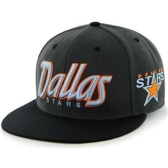 47 Brand Flat Brim Script Logo Dallas Stars NHL Black Snapback Cap