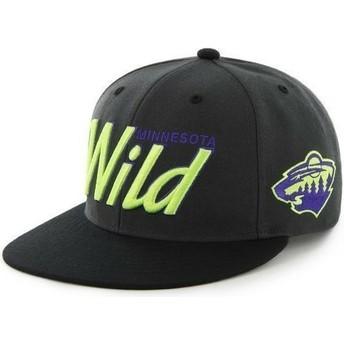47 Brand Flat Brim Script Logo Minnesota Wild NHL Black Snapback Cap