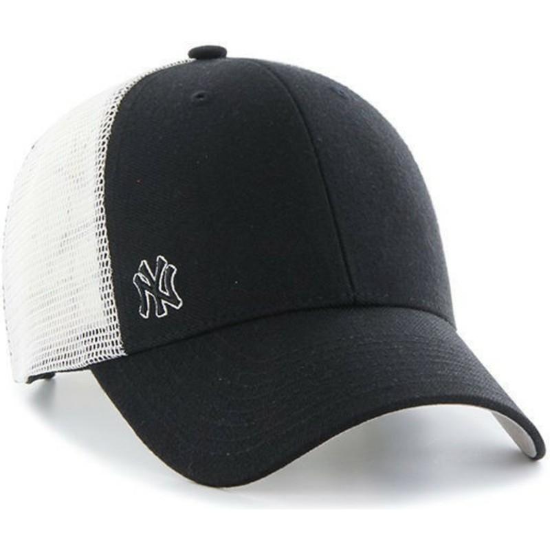 47 Brand Small Logo MLB New York Yankees Black Trucker Hat  Shop ... 5015598e8fd