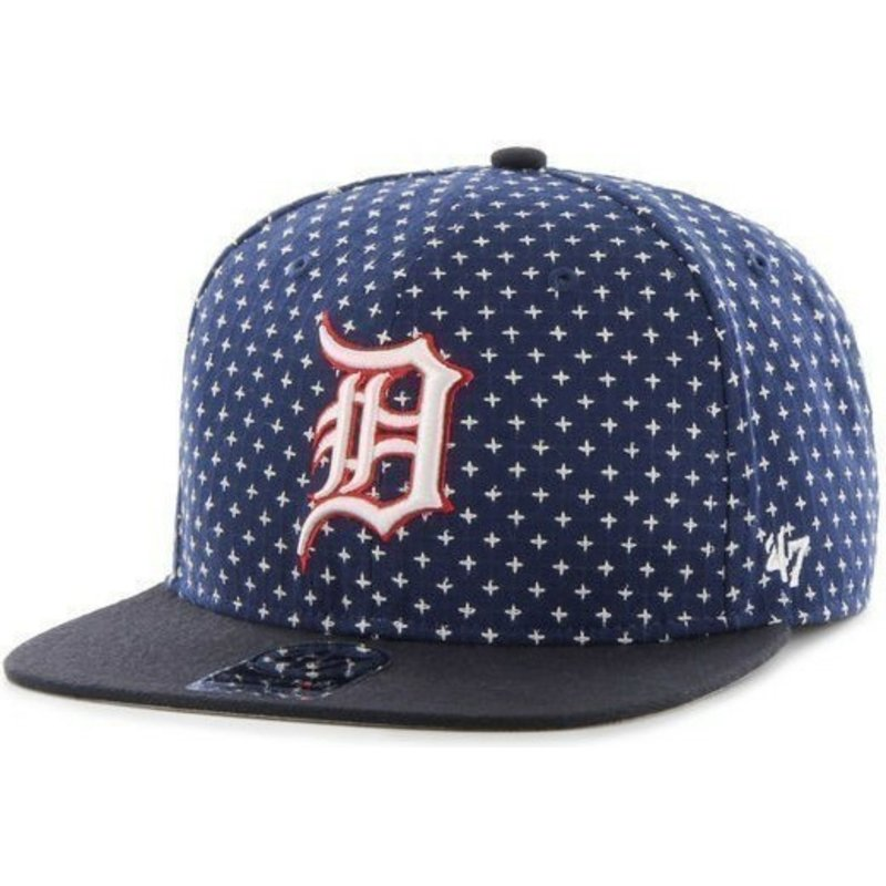 6bf566371 47 Brand Flat Brim Cross Print MLB Detroit Tigers Navy Blue Snapback Cap