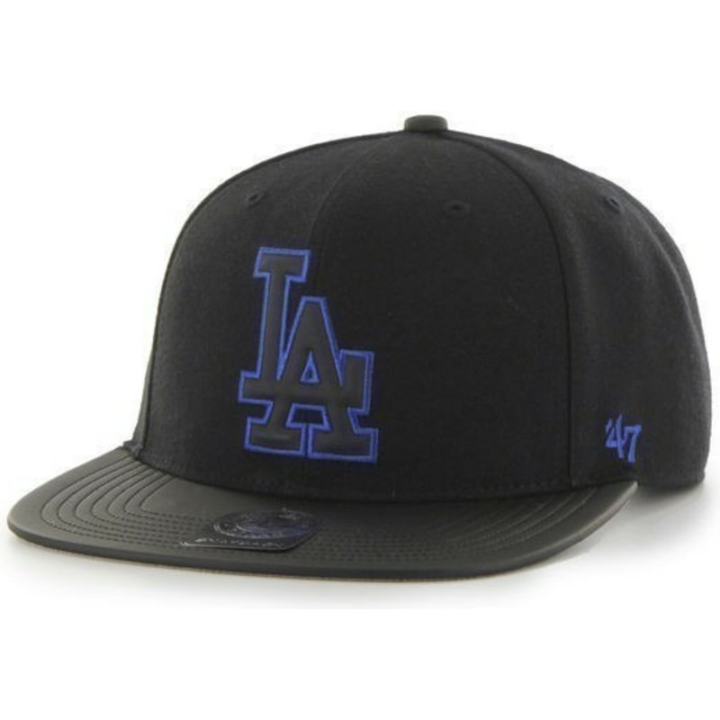 47-brand-flat-brim-mlb-los-angeles-dodgers-smooth-black-snapback-cap