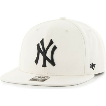 47 Brand Flat Brim MLB New York Yankees Smooth White Snapback Cap