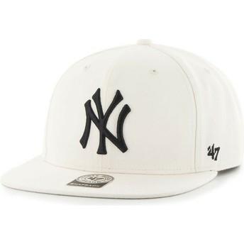 47 Brand Flat Brim MLB New York Yankees Smooth White Snapback Cap