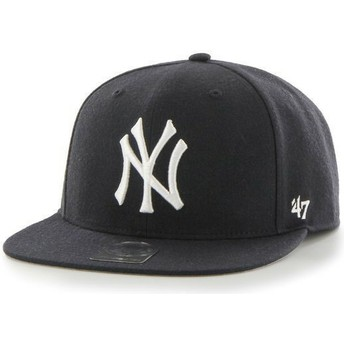 47 Brand Flat Brim MLB New York Yankees Smooth Navy Blue Snapback Cap
