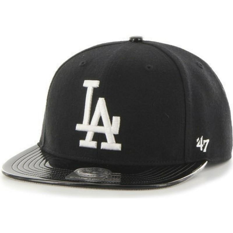 47 Brand Flat Brim Shiny Visor MLB Los Angeles Dodgers Black ... 4a9f241c73d8