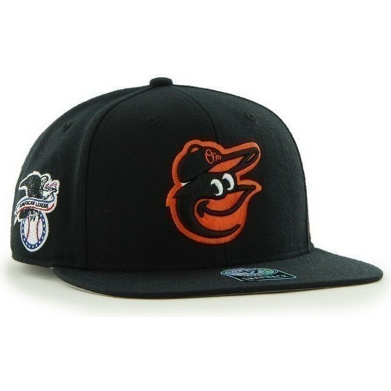 47-brand-flat-brim-side-logo-mlb-baltimore-orioles-smooth-black-snapback-cap
